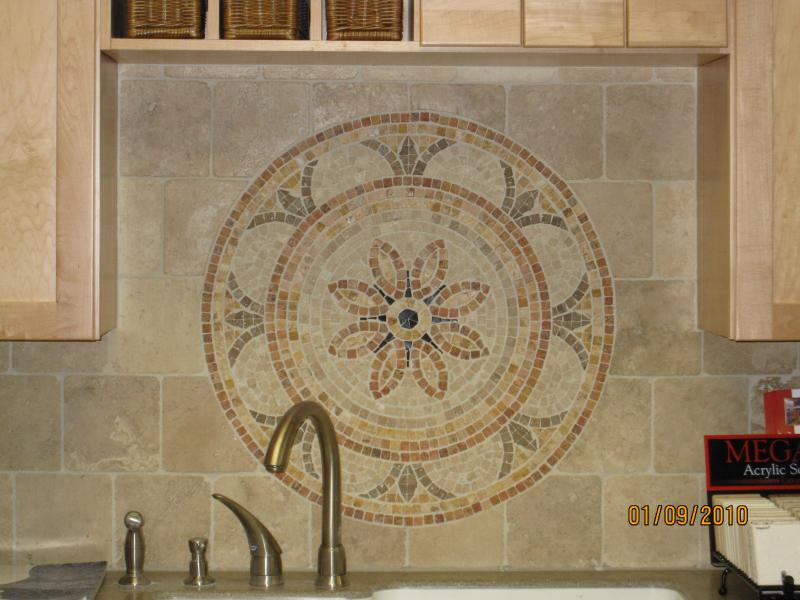 Kitchen Backsplash With Tile Medallion Over Stove Car